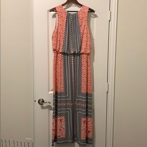 Coral, black & white sleeveless maxi dress